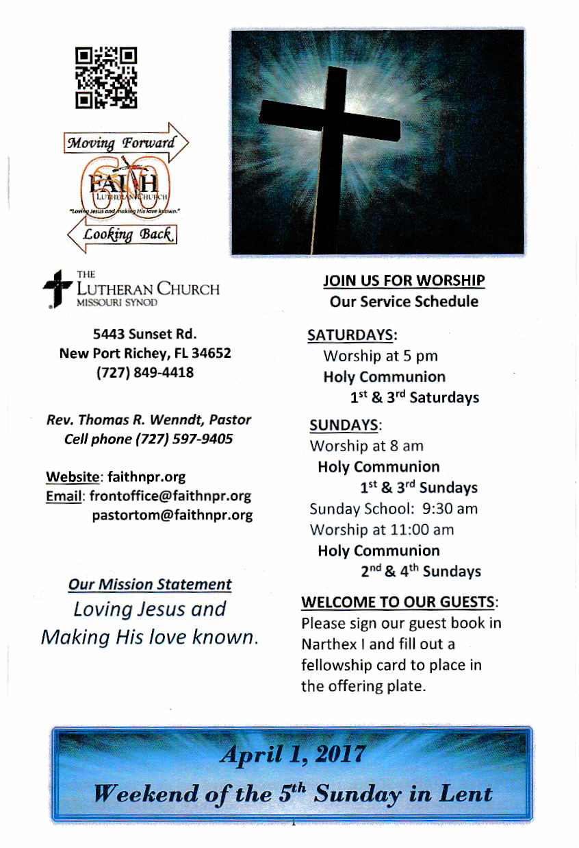 Worship Service Bulletins - Faith Lutheran Church
