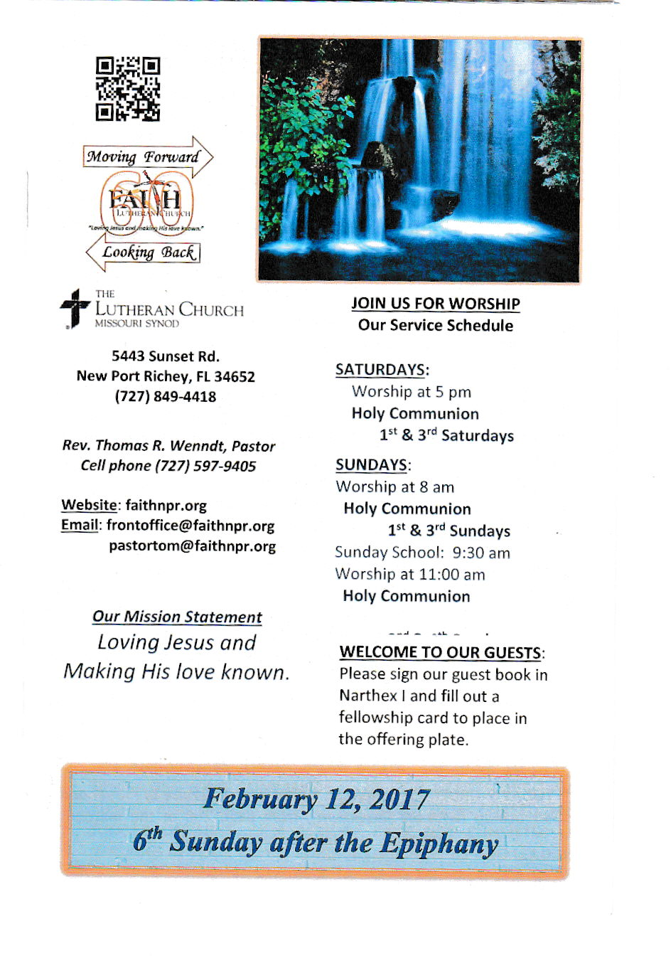 church bulletin february 12th 2017 6th sunday after epiphany