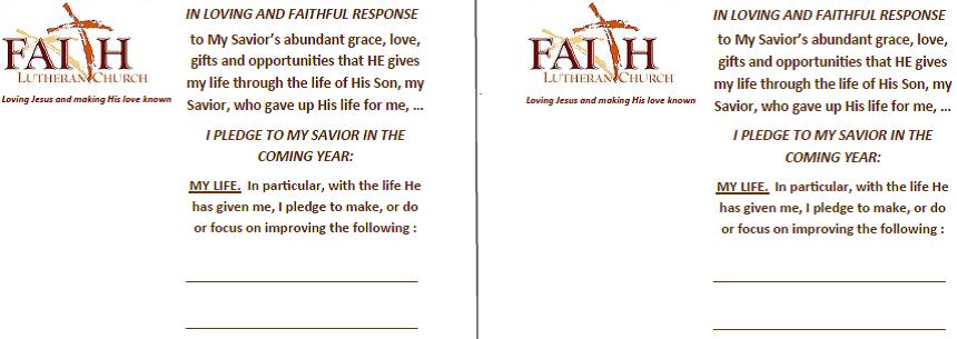 Commitment Card 1 God S Gift Of My Life Faith